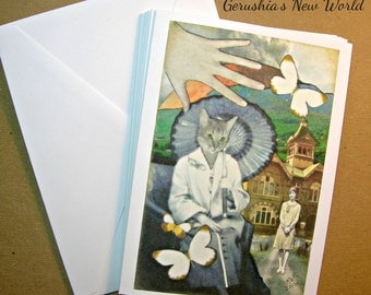 Set of 5 Blank Inside Note Cards - The Edge of Ashes - Anthropomorphic, art card, cat