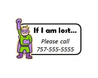 Set of 8+ Custom Temporary Tattoos - Emergency Contact Info / If Lost