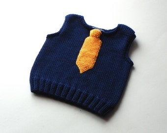 Knit baby boy vest with tie blue wool vest for boy merino vest with yellow tie MADE TO ORDER
