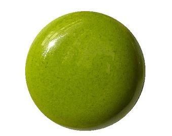 Green enameled ceramic button. Closer clip.