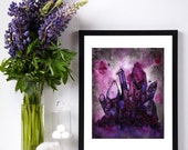 """8x10 Print """"I saw Eternity the other night,"""" Crystal Intuitive Artwork - Pink & Purple Watercolor and Ink Art"""