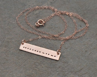Morse Code Necklace - Rose Gold Morse Code Bar Necklace - Gold Filled Morse Code Necklace - Sterling Morse Code Necklace