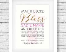 Baptism Gift Printable // Custom Name Wall Art // Scripture Quote // First Communion // Christening Gift // Scripture Print