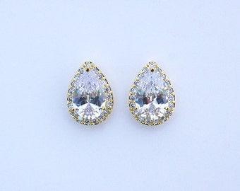 Adrienne - Gold Teardrop Earrings, Bridal CZ Stud Earrings, Crystal Earrings, Halo Stud Earrings, Cubic Zirconia, Bridesmaids Earrings