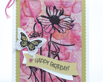 Wishing You A Very Happy Birthday Handmade Paper Card, Butterfly Happy Birthday Handmade Greeting Card