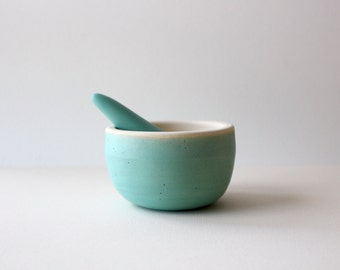 Ceramic mortar and pestle kitchen tool / turquoise blue green / made to order