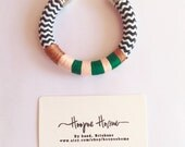 Tendai Bracelet, Cuff, Chevron, Emerald, Peach, Copper
