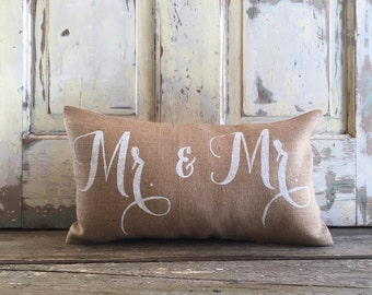 Burlap Pillow -  Mr. & Mr. pillow | Wedding/Anniversary Gift | Gay Pride | LGBT | Gay wedding | Commitment Ceremony | Wedding shower