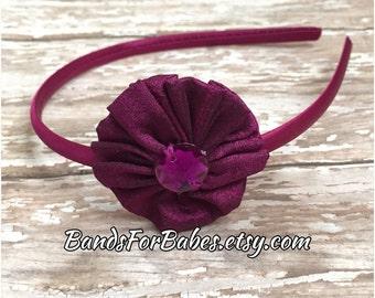 SALE Purple Fabric Flower Headband, Eggplant Purple Flower Satin Wrapped Headband, Dark Magenta Hair Accessory, Flower Girl Hair Accessory