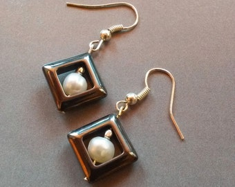 Hematite Earrings...Pearl grey earrings...Geometric earrings...freshwater pearl earrings...hematite and pearl earrings