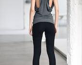 Charcoal Melange Leggings / Extra Long Leggings / Low Rise Charcoal Melange Tights By Arya Sense / LEXL14BM