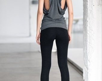 Charcoal Melange Leggings / Extra Long Leggings / Low Rise Charcoal Melange Tights By Arya Sense / LEXL14BM