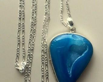 Large Blue Teardrop Agate Druzy Pendant/Necklace