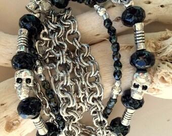 Silver Chains, Skulls, and Black Czech Beads Multistrand Bracelet - Biker Bracelet - Grateful Dead Bracelet - Goth Jewelry