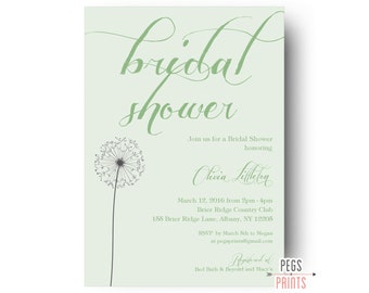 Mint Bridal Shower Invitation Printable - Mint Green Wedding Shower Invitation - Dandelion Bridal Shower Invitation - Mint Green Bridal