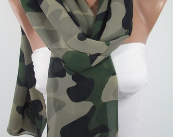 Camouflage Scarf Camo Scarf Army Green Scarf Shawl Infinity Scarf Military Circle Scarf Spring Summer Fall Scarf Christmas Gifts For Her