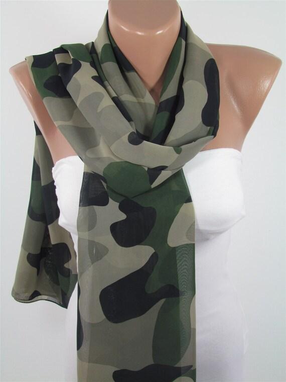 Camouflage Scarf Camo Scarf Army Green Scarf Shawl By