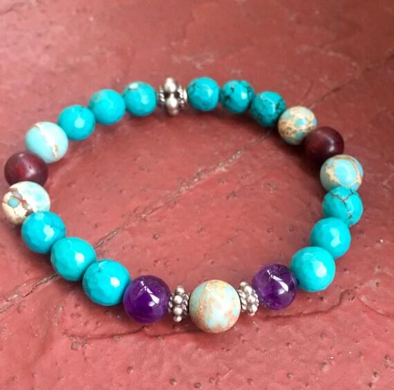 Turquoise Wrist Mala Beads, Amethyst, Impression Jasper, Sterling Silver Stretch Stackable Bracelet December Birthstone Healing Mala Beads