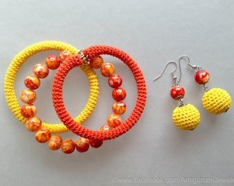 Crochet Set. Crochet Tube Bracelet. Crochet Earrings. Crochet Jewelry. Wrap Bracelet. Yellow And Orange Crochet Set.