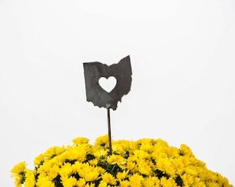Ohio State Heart Garden Art Stake