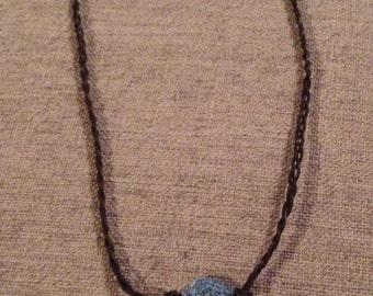 Braided necklace with Denim Charm