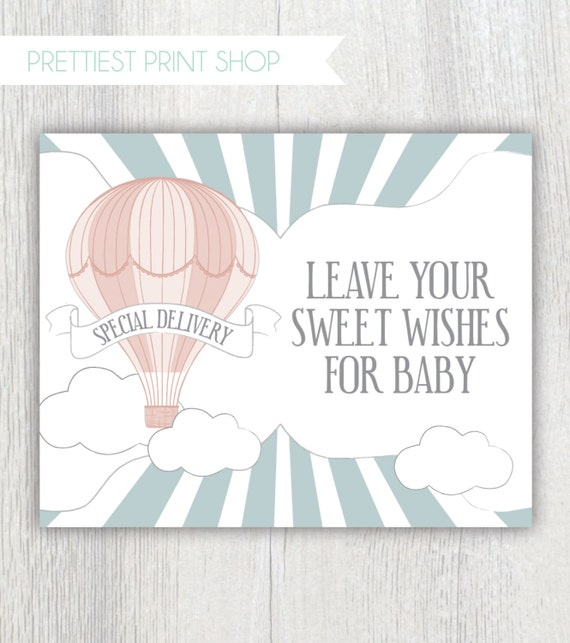 Printable Sign   Hot Air Balloon Baby Shower   Wishes For Baby Sign   Party  Decor   Shower Games   Icebreaker Activity