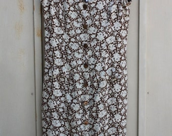 Button Down Dress, 90s Dress, Floral Dress, Brown Dress, Fall Dress, Sundress, 1990s Dress, Indie Dress, Dress With Ties, Button Up Dress