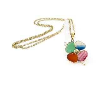 Vintage Four Leaf Clover Necklace, Banded Agate, Multi Color, Gold Tone