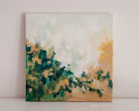 "Original 10x10 Painting ""Green and Gold No. 1"" FREE SHIPPING"