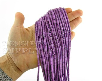 Hand Cut Afghan Beads 4mm Purple Matrix Heishi Bead Strands Howlite Tube Beads 1 Full Strand Semiprecious Gemstone Beads, Loose Beads