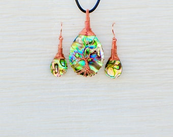 Tree of Life copper wire wrapped Abalone pendant and matching Earrings