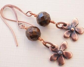 Bronzite earrings, copper flower earrings, gemstone earrings, brown earrings, floral earrings, lightweight earrings, copper earrings
