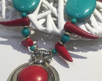 Large Chunky Green & Red Turquoise Necklace