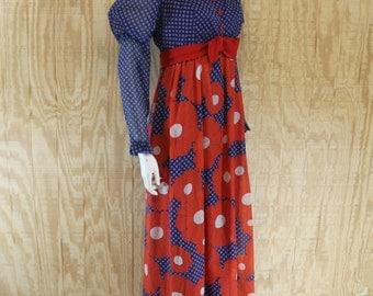 Vintage 1970's Red / White / Blue Cotton Voile Flower Power Juliet Leg O Mutton Sleeve Maxi Dress  M Medium