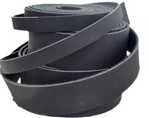 "Genuine Leather Strips, Leather Straps, Leather Cuffs; Oil Tanned Black Leather; WiDTHS: 8mm, 3/8"", 11mm, 3/4"", 1"", 1 1/2"""