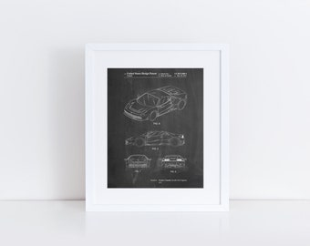 Sports Car Patent Poster, Car Poster, Exotic Sports Car, Teen Boy Wall Art, Mechanic Gift,  PP0466