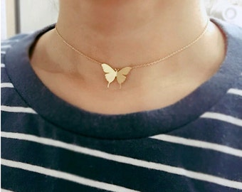 Butterfly choker, gold Butterfly choker, Butterfly necklace, gold choker, dainty Jewelry, Simple jewerly, christmas gift