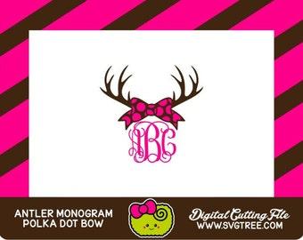 Deer Antler Monogram SVG Southern Monogram SVG Polka Dot SVG Commercial Free Cricut Files Silhouette Files svg cut files deer svg