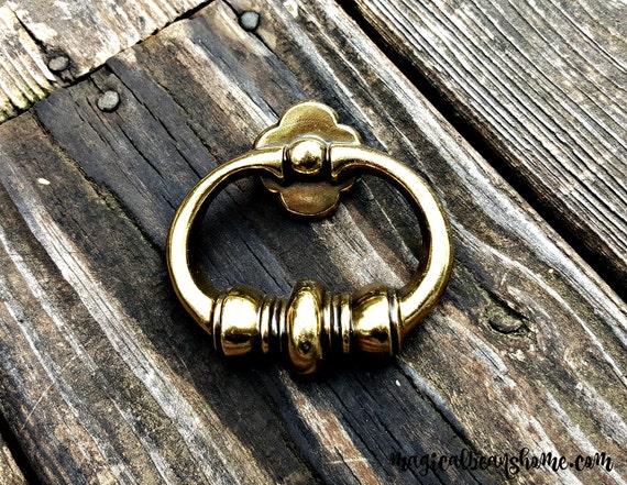 Gold Ring Pulls Vintage Brass Drawer Pulls Kbc Gold