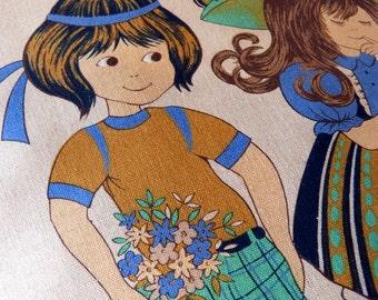 Prairie style children couple decorative cushion - French 70s vintage