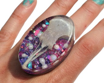 Real Bird Skull Ring Taxidermy Ring Pigeon Skull Jewelry Huge Holographic Taxidermy Oddity Ring