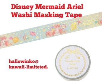 Disney Princess Washi Tape - Mermaid Ariel Paper Masking Tape 15mm ×8m