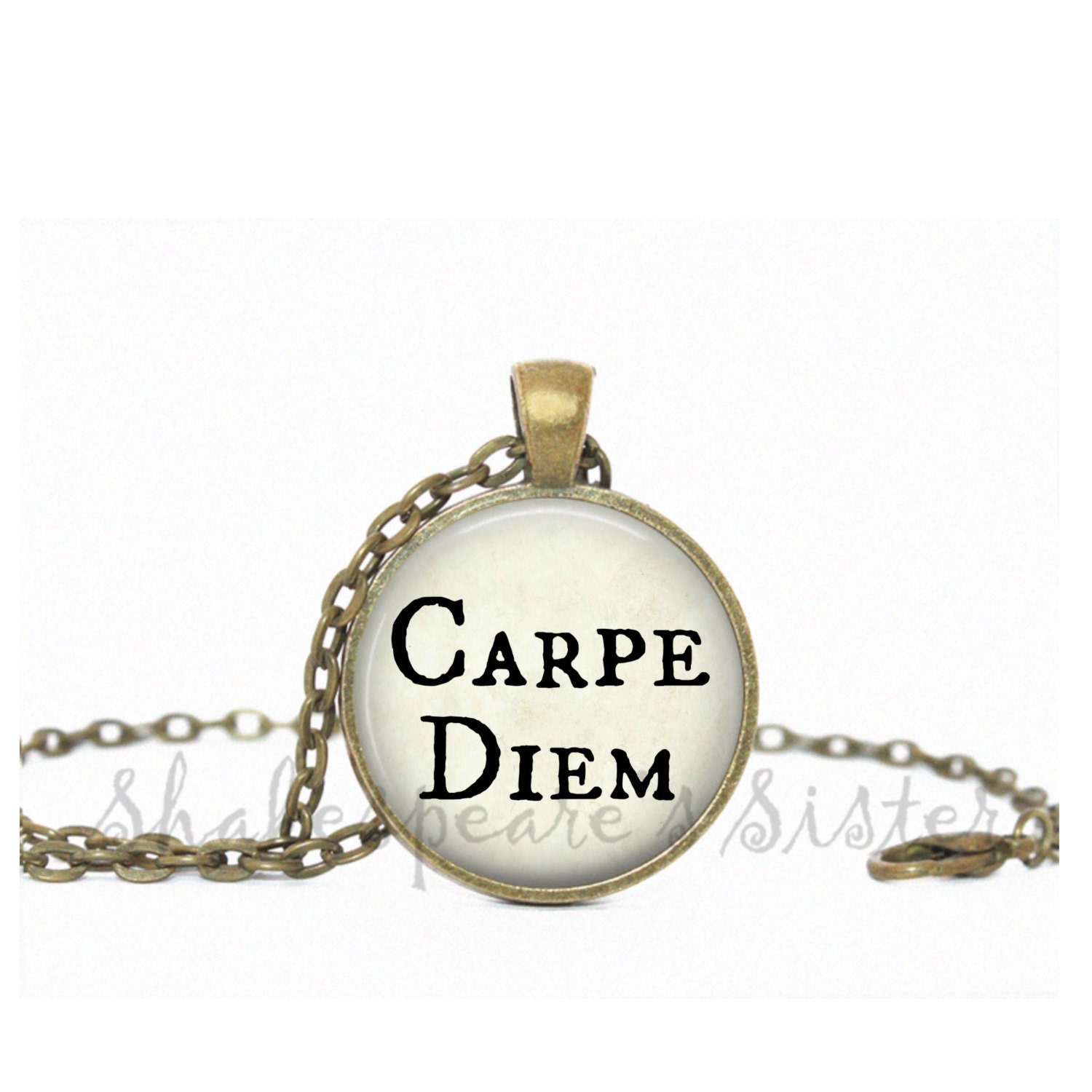 carpe diem inspirational necklace affirmation jewelry