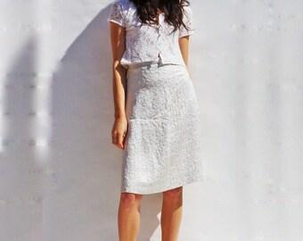 Lace Bridal Separates, Vintage 1960s Cropped Lace Bridal Top, High Waisted Metallic Silver Geometric Print Midi Skirt, Vintage Bridal Skirt