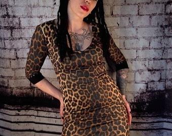 3 Drops Of Poison  Studded Leopard Cheetah Animal Print Mini Dress Punk Rock