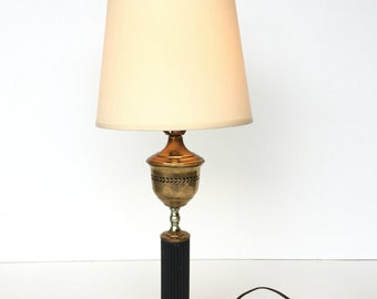 Antique Brass Lamp, Hollywood Regency Lamps, Vintage Table Lamp, Brass And  Black Table
