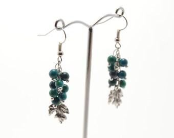 Beaded earrings, hrizokola earrings, stone earrings, green earrings, natural stone earrings, semi-precious stone, leaf earrings