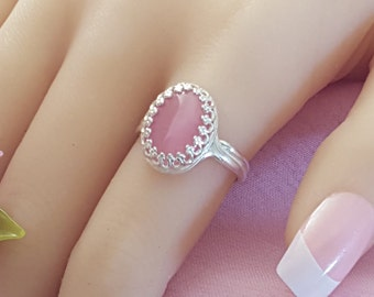 Pink Ring, Silver Oval Ring, Pink Glass Ring, October Birthstone, Pink Tourmaline Birthstone Gift, Adjustable Ring, Silver Ring, R2006