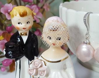 Pink Pearl Earrings, Round Pearl CZ Drop Crystal Earrings, Long Dangle Cubic Zirconia Earring, Light Pink Shell Pearl Bridal Earrings, E4009