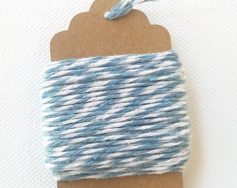 Light blue/white Baker's Twine, cotton twine, gift wrapping, 10 meters